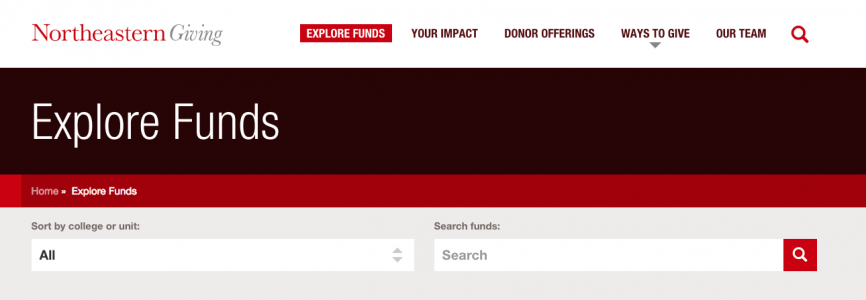 Header and fund search