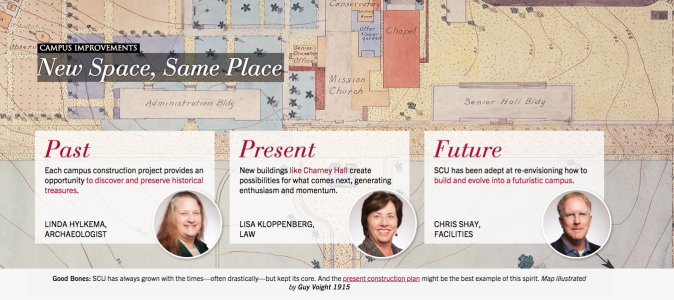 The SCU homepage feature looks at every story from three angles.