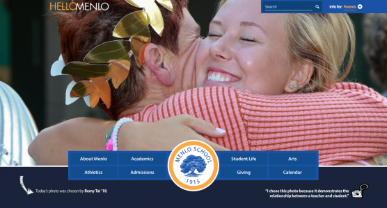 The Menlo homepage features a different photo every day— all selected, and many taken, by current Menlo middle school and high school students.